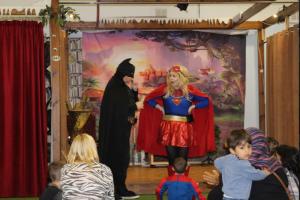 Batman and Wonderwoman at The Rainbow Factory