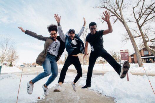 Team jumping for joy
